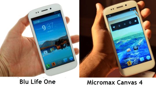 Micromax Canvas 4 and Blu Life One - Front
