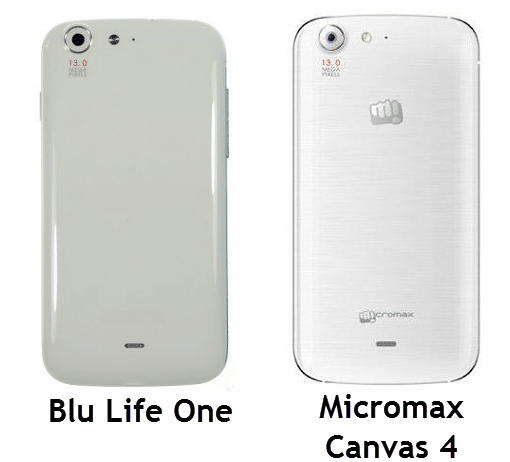 Micromax Canvas 4 and Blu Life One - Back