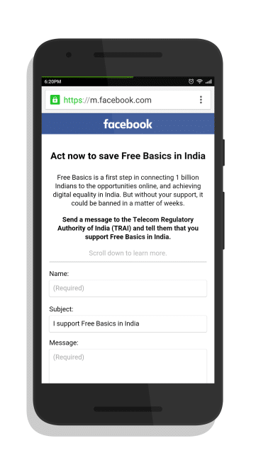 Facebook Free Basics E-mail