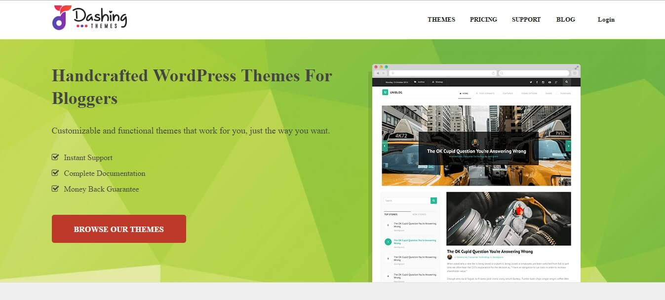 Dashing Themes Review - Homepage